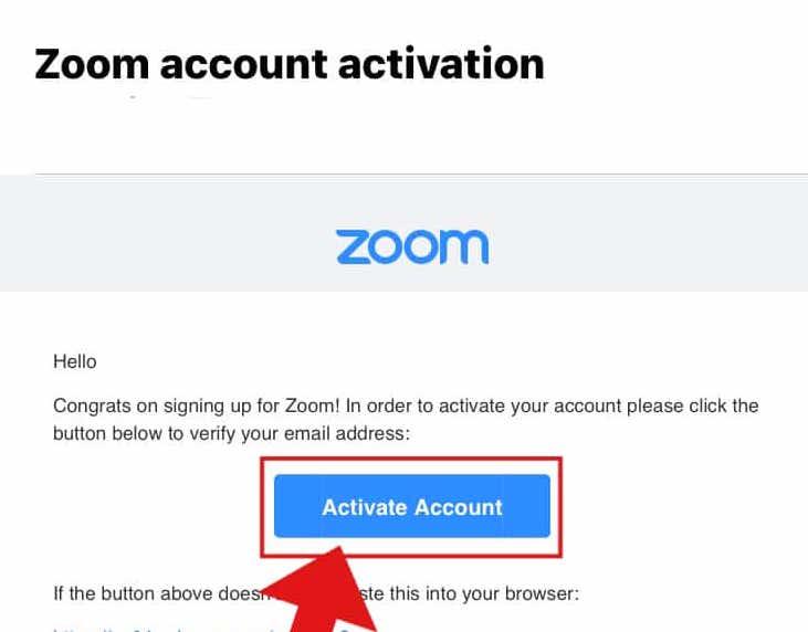 zoomのアカウントメール
